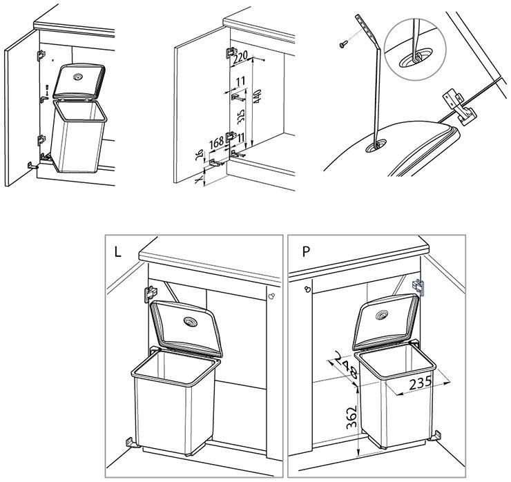 Сегрегатор для мусора Квадро 13л
