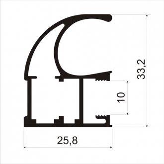 Профиль вертик С обр 10мм серебро браш мат 2,7м