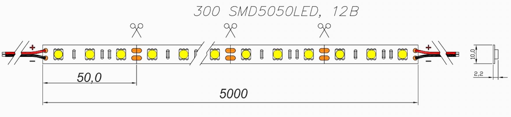 Светодиодная лента 5050 ip20 10мм 60Led 6000K 12В 14,4Вт 720-900Лм/м  5м*10мм — GLS
