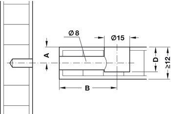 Стяжка эксцентриковая Minifix 15, для плиты 16мм+ болт (размер 34/5мм)