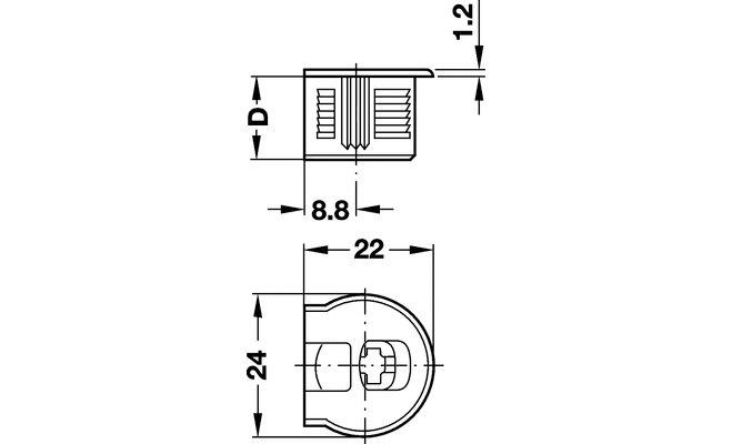 Стяжка эксцентриковая RAFIX 20 БЕЖЕВАЯ + болт (резьба 7,5 мм в отверстие d=5 мм)