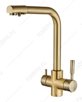 Смеситель для кухни с выходом для питьевой воды Бронза (латунь)