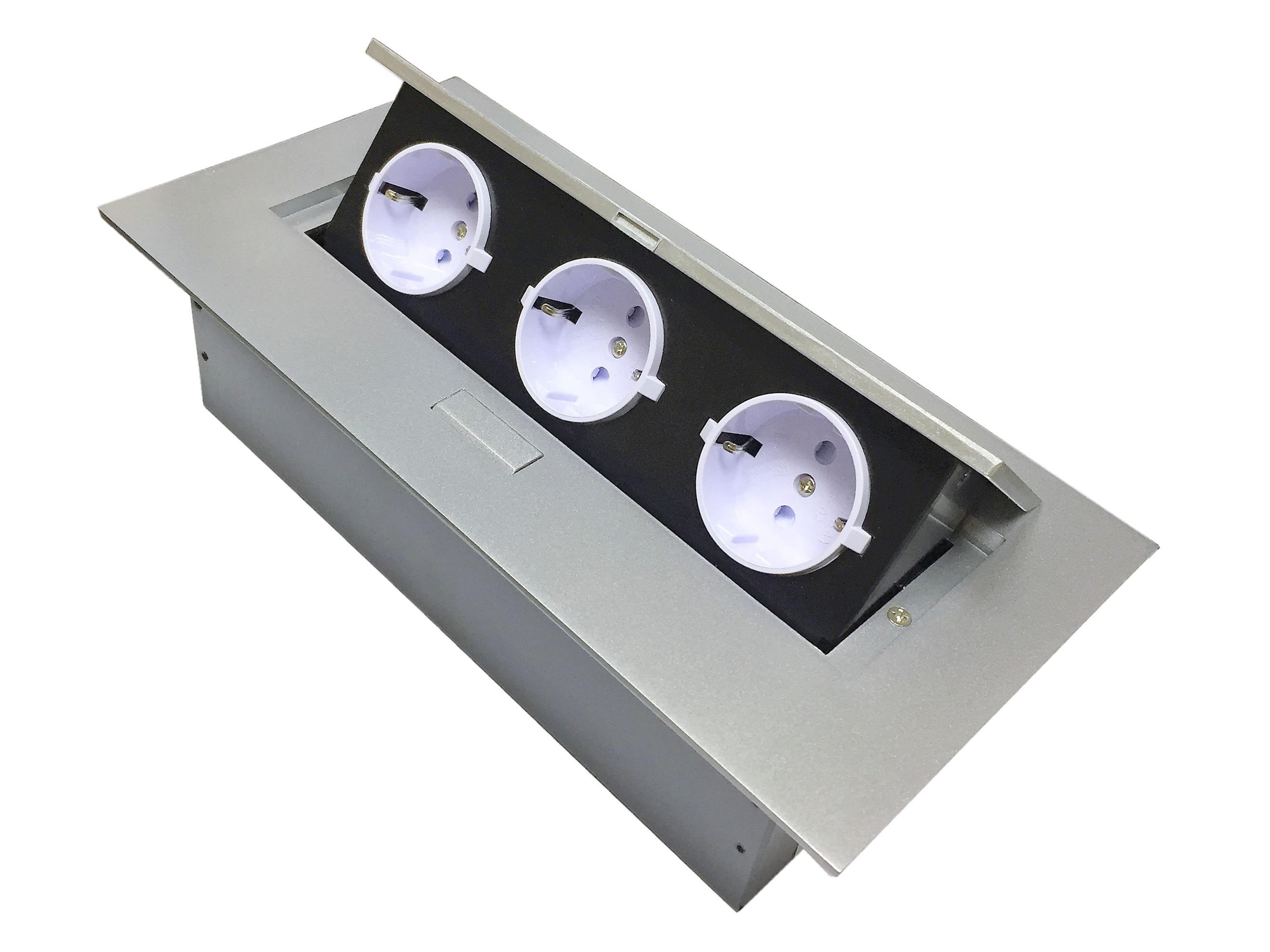 Удлинитель горизонтальный для офиса, 3 гнезда EURO серебро, кабель 2м 266*130*68мм